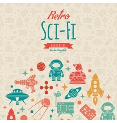 Retro Sci-Fi decorating design vector