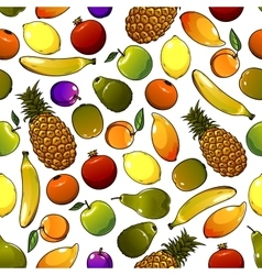 Ripe tropical fruits seamless pattern vector