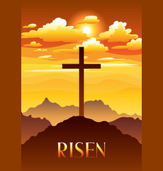 risen easter greeting card with vector image