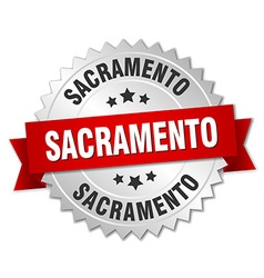 Sacramento round silver badge with red ribbon vector