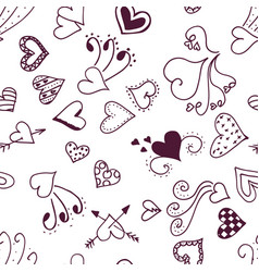 seamless pattern heart sketchy background vector image