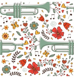 Seamless pattern with saxophone and flowers vector image