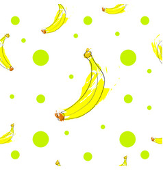 seamless tileable texture with bananas and green p vector image