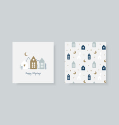 set hand christmas greeting card and winter vector image