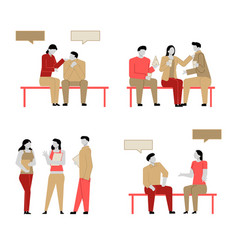 set modern cartoon flat people characters vector image