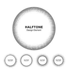 Set of black abstract halftone circle frame logo vector