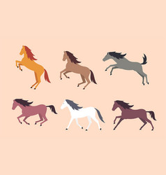 Set of colorful horses vector