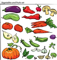 Set of delicious vegetables and fruits vector image