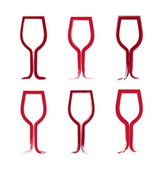 Set of hand-drawn simple empty wineglasses vector image