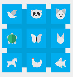Set of simple animals icons elements pigeon wolf vector