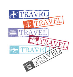 ship and airplane and cableway travel rectangular vector image