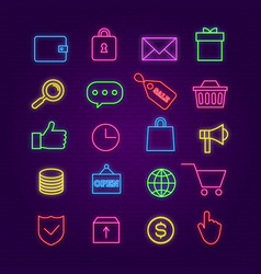 Shopping neon icons e-commerce trade colorful vector