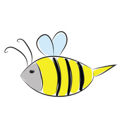 simple cartoon a black and yellow bee on white vector image