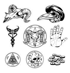 Sketch set esoteric symbols and occult vector
