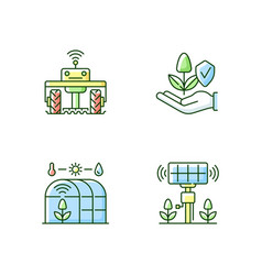 Smart agriculture rgb color icons set vector