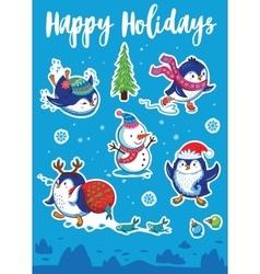 Snow sticker set with cartoon penguins snowman vector