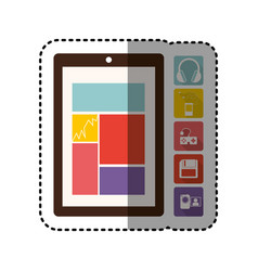 Sticker colorful tech table and icon apps vector