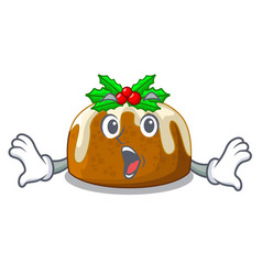 Surprised christmas pudding on dinning table vector