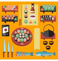Sushi and Japanese food icons set vector
