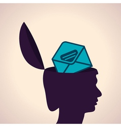 Thinking concept-Human head with envelope symbol vector