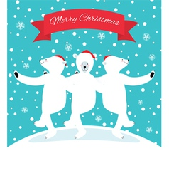 Three polar bears dancing vector image