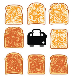 Toasted bread slices and toaster vector