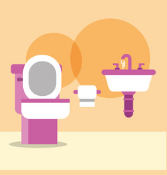 Toilet bowl washbasin and paper cartoon bathroom vector