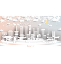 Tokyo japan city skyline in paper cut style with vector