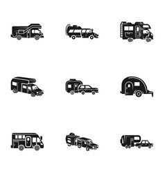 Tourism motorhome icon set simple style vector