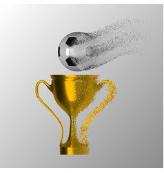trophy gold cup and flying ball from molecular vector image