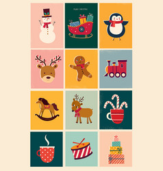 vintage christmas cards vector image