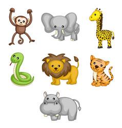 wild animals cartoon vector image