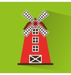 windmill farm building icon vector image