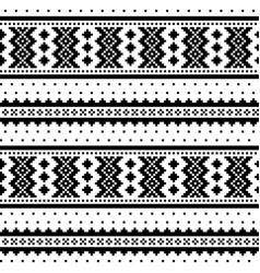 Winter cross-stitch monochrome pattern vector
