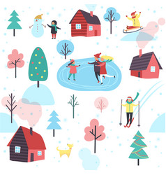 Winter pattern with people and cottage houses vector