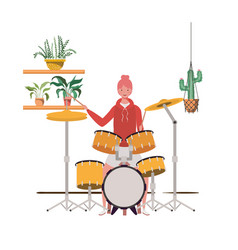 Woman with drum kit and houseplants on macrame vector