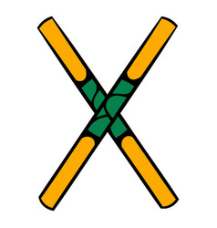 wooden sword bokken icon icon cartoon vector image