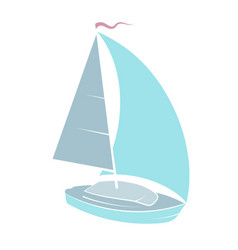 Yacht with sail vector