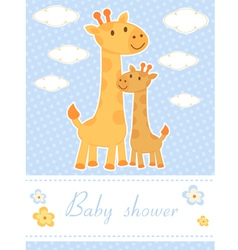 Baby shower card with giraffes vector