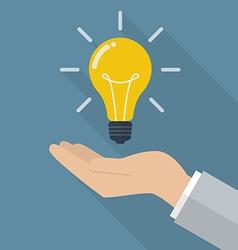 Hand holding lightbulb idea vector image vector image