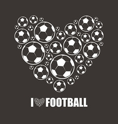 Heart from the footballs I love Football vector image vector image