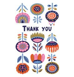 Scandinavian flora banner with thanx message vector