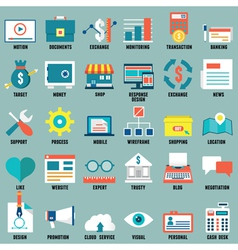 Set of flat business commerce service icons vector image vector image