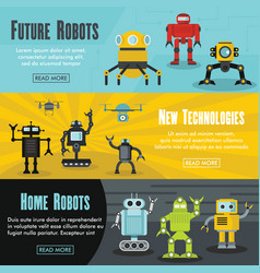 set of three horizontal future robot banners with vector image vector image