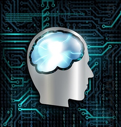 Technology background with microchip and brain vector