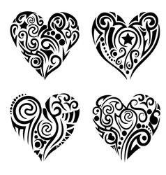 Tribal hearts vector image vector image
