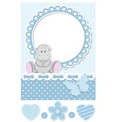 Baby hippo blue scrapbook set vector image vector image