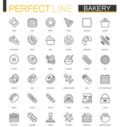 bakery thin line web icons set pastry outline vector image vector image