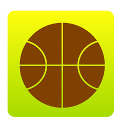 basketball ball sign brown vector image