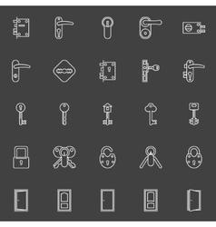 Door lock and key icons vector image
